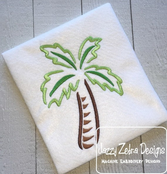 Palm Tree 101 Satin Stitch Outline Embroidery Design - Palm tree embroidery design