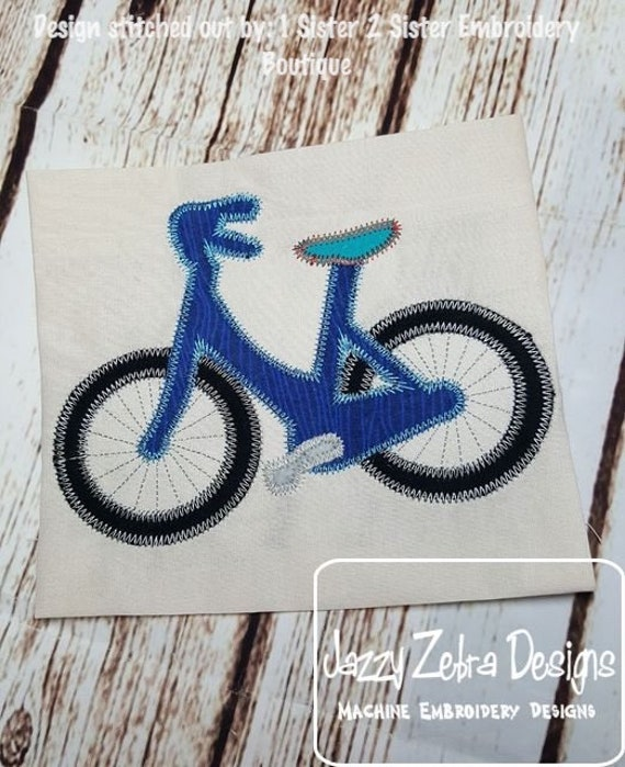 Bicycle vintage stitch applique embroidery design - bicycle appliqué design - boy appliqué design - spring appliqué design - summer appliqué