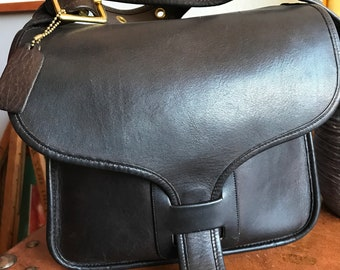 Vintage Coach RARE Mocha Courier Saddle Flap Cashin Messenger Bag glue in!! 5636b71db75d8