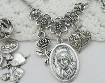 Mother Teresa Medal & Choose 2 Charms Miraculous Jesus Nurse Doctor Missionary Sisters of Charity Catholic Saint St Calcutta Stainless Steel