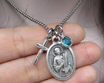 St Cecilia Necklace - Cross Crucifix - Stainless Steel Chain - Birthstone Gem Birth Stone Saint Music Choir Singing Confirmation Catholic