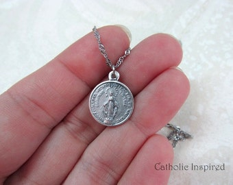 Round Miraculous Medal - Stainless Steel Chain Necklace - Our Lady Pendant - Mary - Blessed Mother - Mini Dainty Small Tiny Simple