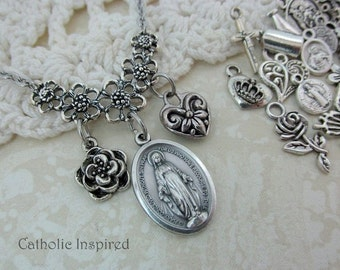 Miraculous Medal & Choose 2 Charms Our Lady Mary Blessed Mother First Communion Confirmation Necklace Stainless Steel Catholic Pendant