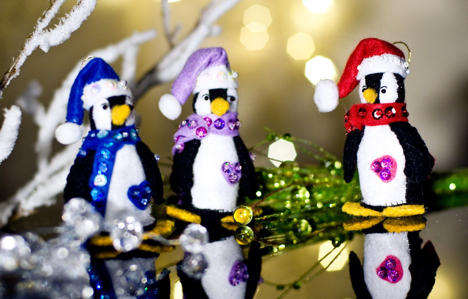 Penguin Christmas Tree Felt Ornaments With Sparkling Scarf