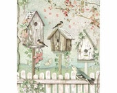 STAMPERIA Decoupage House of Roses NESTS Birdhouses Bird Rice Paper A4 - DFSA4448