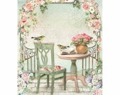STAMPERIA Decoupage House of Roses GAZEBO Rice Paper A4 - DFSA4449