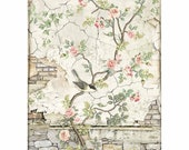 STAMPERIA Decoupage House of Roses LITTLE Bird on BRANCH Rice Paper A4 - DFSA4446