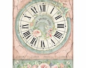 STAMPERIA Decoupage House of Roses CLOCK Rice Paper A4 - DFSA4444