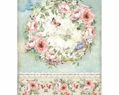 STAMPERIA Decoupage House of ROSES and BUTTERFLY Rice Paper A4 - DFSA4445