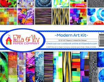 MODERN ART by Ella & Viv 12x12 Scrapbook Kit Paper Arts Mixed Media EAV-1000