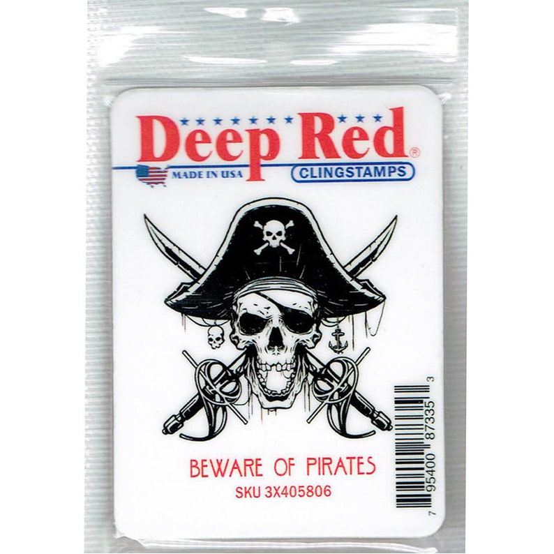 Deep Red BEWARE OF PIRATES Cling Mounted Red Rubber Stamp #3X405806