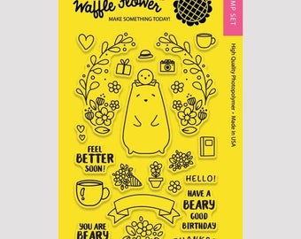 Waffle Flower BEAR and BIRD 4x6 - Set of 22 CLEAR Photopolymer stamps #271086