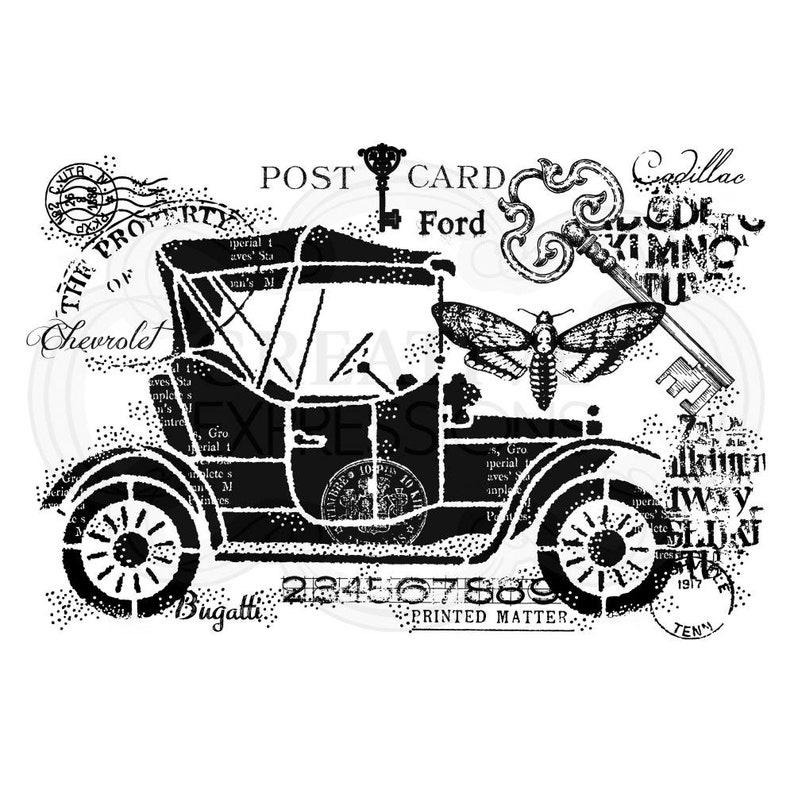 Woodware Craft Collection VINTAGE CAR Clear Stamp Set #FRS840