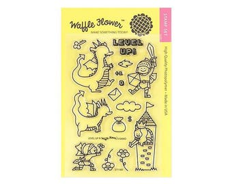 Waffle Flower LEVEL UP  4x6 - Set of 16 CLEAR Photopolymer stamps Princess Dragon Castle Knight #271160