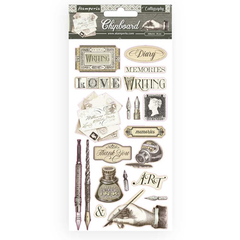 Chipboard 6 X 12 20 Pieces #DFLCB14 CALLIGRAPHY Stamperia