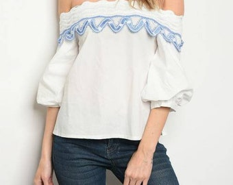 Short sleeve off the shoulder poplin blouse Small