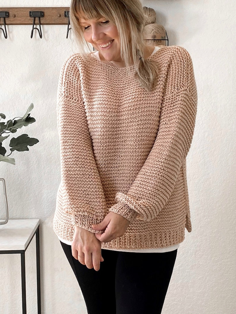 KNITTING PATTERNCobble Stone Sweater.Easy Knit Sweater image 0