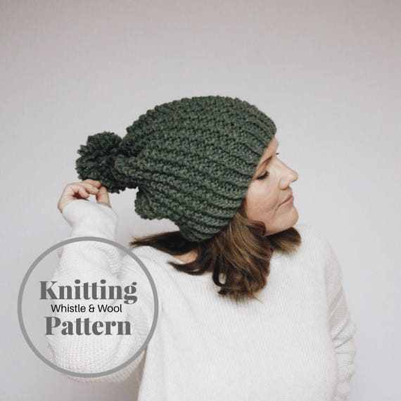 Knitting Pattern The Devon Slouchy Beanie Teen Adult size