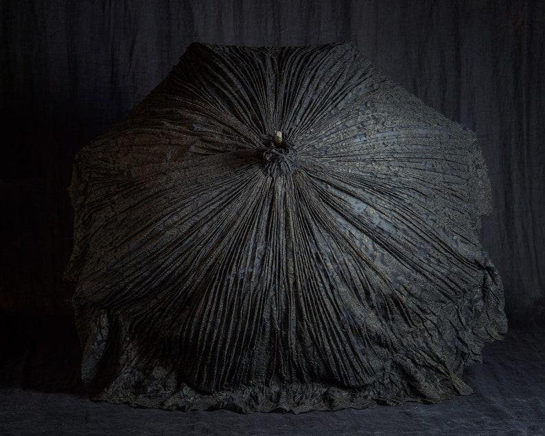 Antique Original Victorian Black Chantilly Lace Lacquered Bamboo ParasolUmbrella...