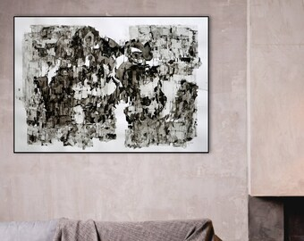 Original Ink Drawing, Abstract Contemporary Art, Modern Art Drawing, Horizontal Art, 28x40 Wall Art Decor, Black and White,