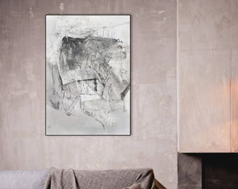 Original Abstract Large Drawing, Black and White Fine Art, Contemporary Modern Wall Art Drawing, Original Abstract Art