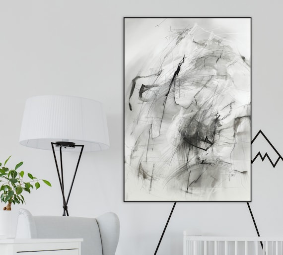 Contemporary Abstract Drawing Original Pencil Art Black And White Artwork Modern Abstraction Fine Art Gray Expressive Art