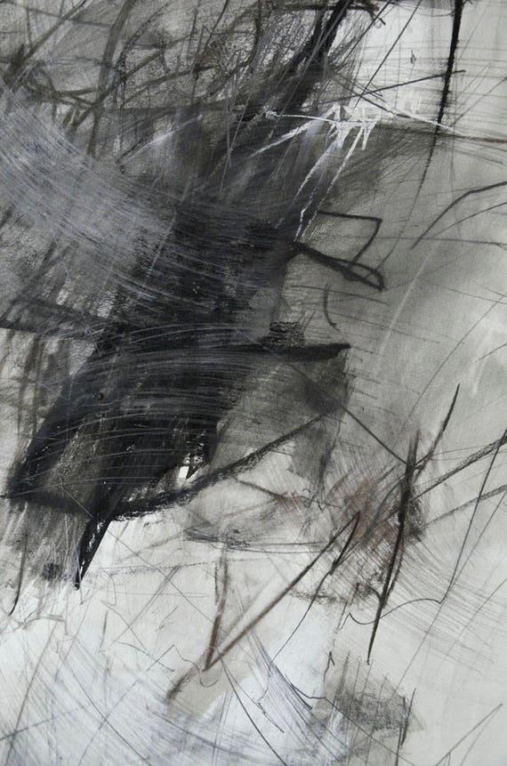 Art Abstrait Noir Et Blanc Dessin Encre Crayon Fusain Pastel Noir Blanc Grand Abstrait Original Grand 55 X 37 Art Abstrait Gris Moderne