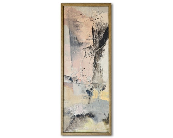 Original Framed Abstract Painting Contemporary Fine Art Oil Canvas 22x8 Inches Modern Pastel Painting Grey Yellow Pink
