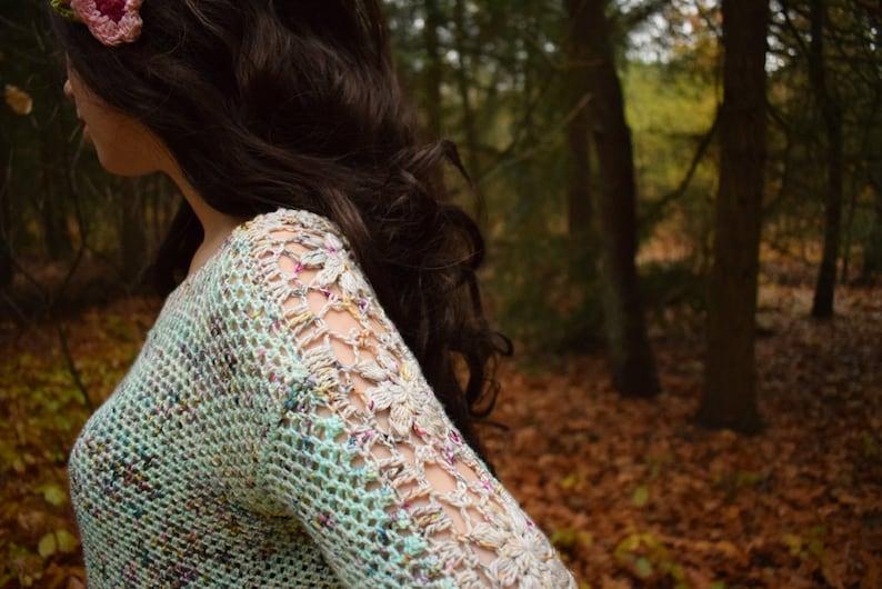 Picking Flowers sweater crochet pattern PDF image 0