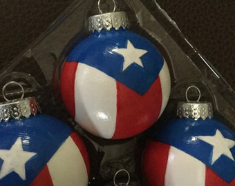 flag of puerto rico glass christmas ornaments - Puerto Rican Christmas Decorations