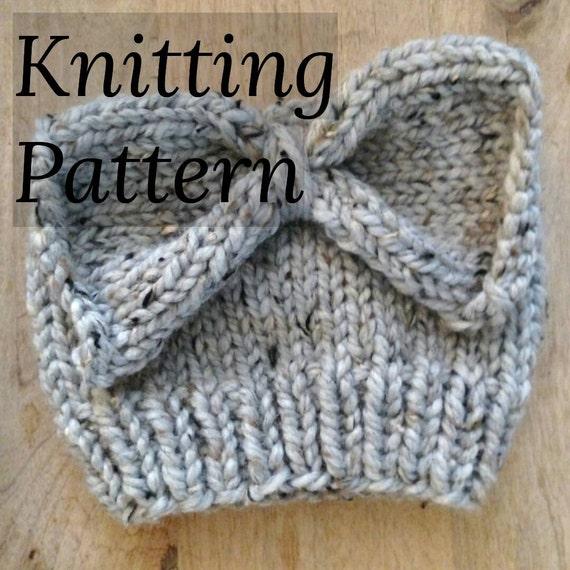 Pattern Knit Messy Bun Hat With Bow Pattern Knit Hat Etsy