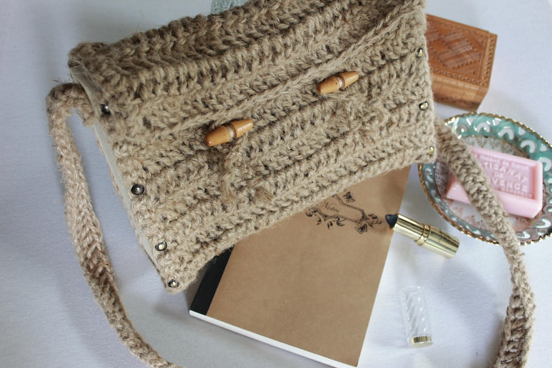 Twine Crochet Wooden Bag Bohochic Wooden Messenger Bag Etsy