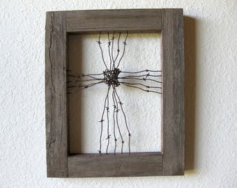 """Reclaimed Barn Wood and Barbed Wire Cross Wall Art ~ 19.5"""" high x 16"""" wide ~ Thick Barn Wood Frame 2.5"""" wide ~ Farmhouse"""