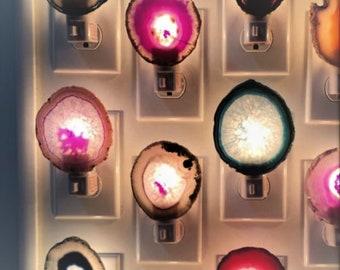 Agate Night Light Geode Night Light - Agate Slice Light - Bedroom Night Light