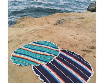 Round Beach Blanket- Mexican Blanket - Dark Purple with pom pom trim