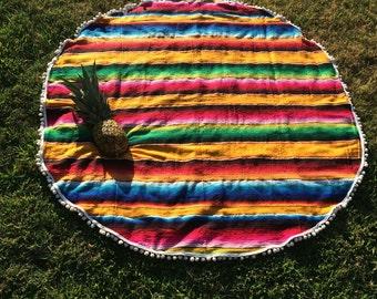 Round Blanket- Colorful Mexican Serape Blanket with pom pom trim- Bohemian Beach- Yellow