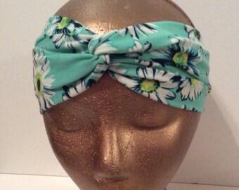 Daisy Print Twist Turban Style Headband - Teal Blue Daisy Boho Headband