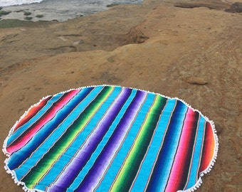 Round Blanket- Colorful Mexican Serape Blanket with pom pom trim- Bohemian Beach- Turquoise