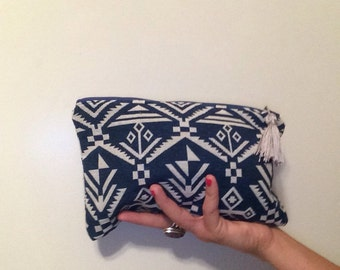Bohemian Tribal clutch with tassel- clutch makeup bag - Navy and white tribal print reverse sides