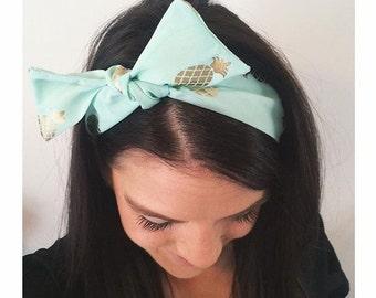 Gold Pineapple Scarf Tie Headband - Tropical Bohemian Headband