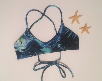Handmade bikini top - scoop neck bikini - bohemian print