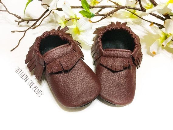 Burgundy Moccasins Vegan Moccs Maroon Baby Shoes Burgundy Fringe Shoes Soft Sole Shoes Baby Shower Gift Fall Moccasins