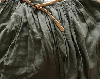 green cotton mini skirt