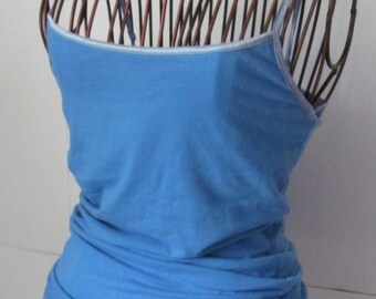 Blue Spaghetti Strap Tank Top Light Blue Layering Tops sz  Medium Bust Control Tops Yoga Tops Active wear Womens Tops