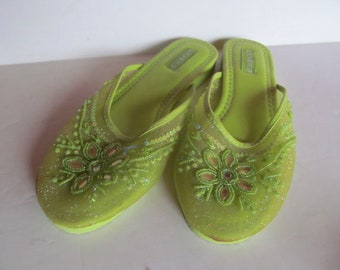 detailed look 41328 b8f72 Lime Green Womens Slippers Green womens sz L XL Slippers House shoes Green  Slippers Womens Flat shoes Green Shoes with Beads House slippers