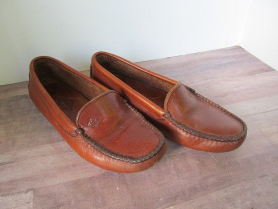 Driving Shoes Brown Leather Shoes, Size 6 M, Flat