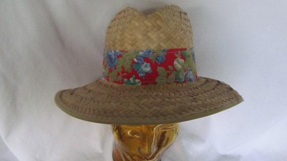Mens Straw Hat Fedora Hat Red Floral Print Hat Ba… - image 2