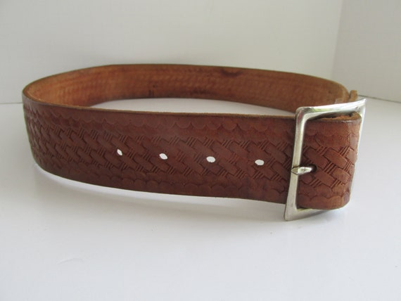 Hand Tooled Brown Leather Belt Master Mechanic Bel