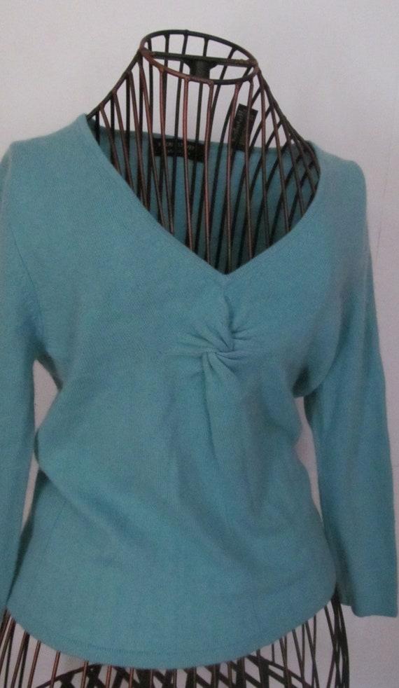 Bust Enhancing 100% Cashmere Sweater Blue Cashmere