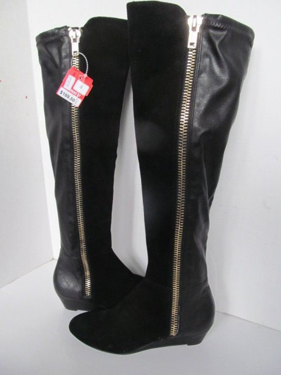 Rock Star New W/ Tags Black Leather Boots New Leat